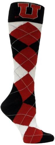 NCAA Utah Utes Argyle Dress Socks, Red/Black