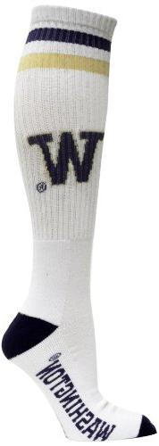 NCAA Washington Huskies Tube Socks, White/Purple/Gold