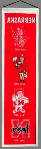 "W2B - Nebraska Huskers Wool 8""x32"" Heritage Banner"