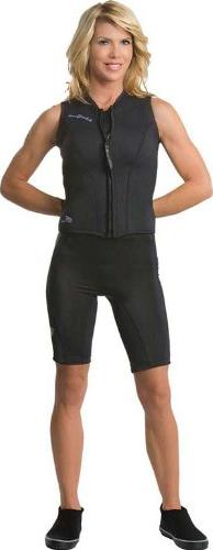 Neo Sport 2.5mm Front Zipper Vest Womens - 8 - Black