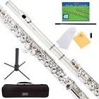 Mendini Nickel Silver Closed Hole C Flute with Stand 1 Year