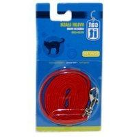 Catit Nylon Cat Leash with Gold-Plated Bolt Snap, Red