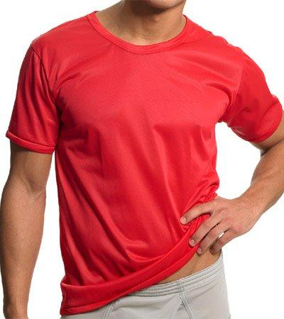 1 Pack Nylon Tricot Crew Neck Tee PLNTS1-M-SILVER