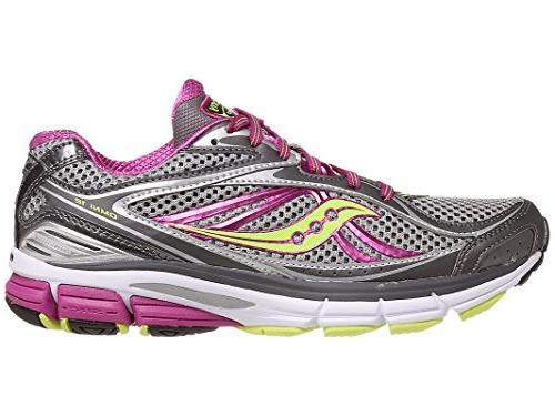 Saucony Women's Omni 12 Running Shoe,Grey/Purple/Citron,9.5