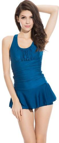 One Piece Ruched Slim Tummy Control Tankini Swim Dress Large