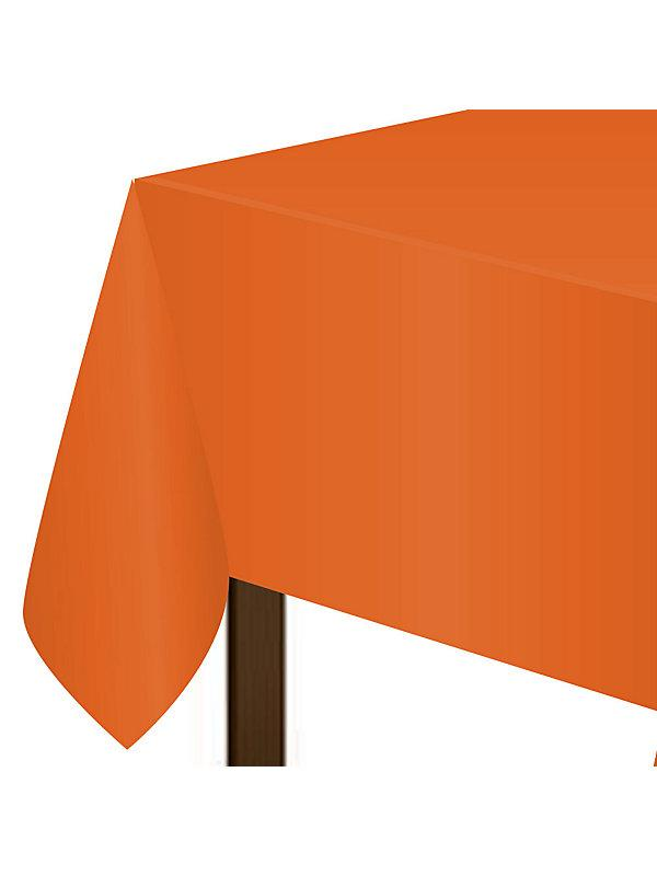 "Orange Plastic Tablecover, 54""-108"
