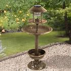ORNAMENTAL BIRD HOTEL FEEDER & BATH WITH SOLAR LIGHT GARDEN