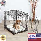 Pet Kennel Cage Crates 2 Doors Folding Playpen Dog Cat Pen