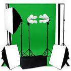 Photo Video Studio Continuous 3Softbox Lighting W/ Backdrop