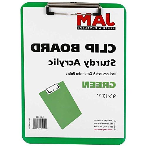 JAM Paper Plastic Clipboards - 9 x 13 in - Green Clipboard
