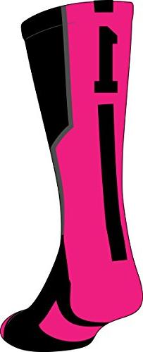 TCK Player Id Black/Neon Pink Number Crew Sock