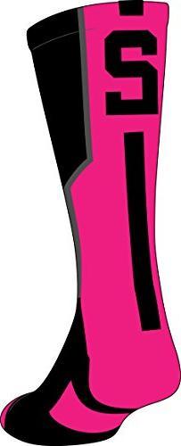 TCK Player Id Black/Neon Pink Number Crew Sock