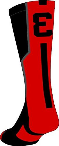 TCK Player Id Black/Scarlet Number Crew Sock