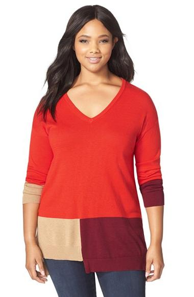 Plus Size Women's  Colorblock V-Neck Sweater, Size 1X - Red