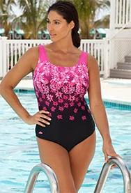 Aquabelle Women's Plus Size Engineered Pink Exploded Floral
