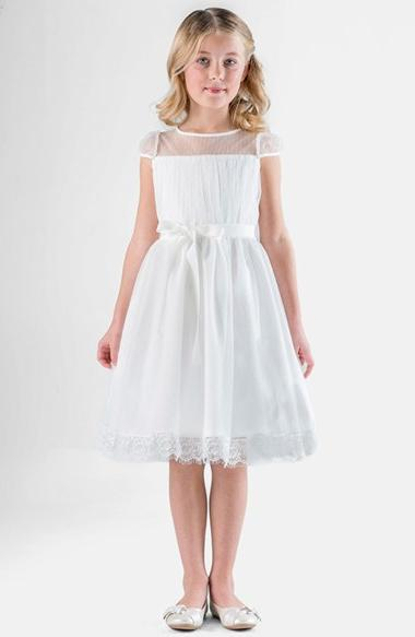Girl's Us Angels Point D'Esprit Dress, Size 5 - White