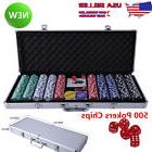 Professional Poker Chips Case 500 Set Texas Hold Em Cards