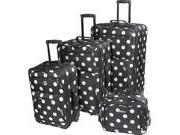Rockland Luggage Polka Dot Expandable 4 Piece Luggage Set