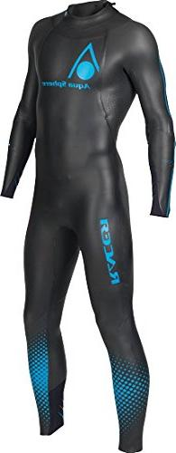 Aqua Sphere Powered Racer Wet Suit, Black/Blue, Large