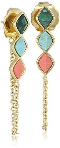 Rachel Zoe Prestley Pyramid Chain Drop Earrings
