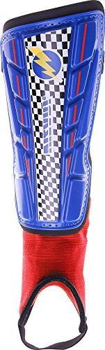 Vizari Prix Shin Guard, Blue/Red, Size XX-Small