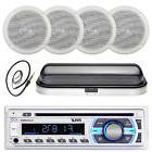 "Pyle CD SD Bluetooth Boat Stereo, 5"" Marine Speakers, Radio"