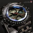 Shark Mens Digital Quartz Wrist Watch Sport Black Stainless