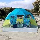 Lightspeed Outdoors Quick Cabana Beach Tent Sun Shelter, Blue/Key Lime, UPF 50