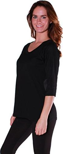 Emmalise Women's Ragland 3/4 Sleeves Baseball Shirt Tee Top