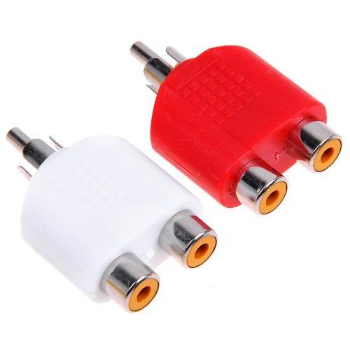 RCA Y Splitter AV Audio Video Plug Converter 1-Male to 2-