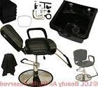 Reclining Hydraulic Barber Chair ABS Shampoo Bowl Sink Salon