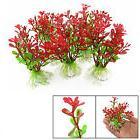 5Pcs Red Green Plastic Plant Decor & Ceramic Base for Fish