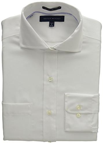 Tommy Hilfiger Men's Regular Fit Non Iron Solid, White, 15