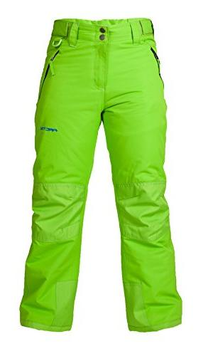 Arctix Youth Snow Pants with Reinforced Knees and Seat, Lime