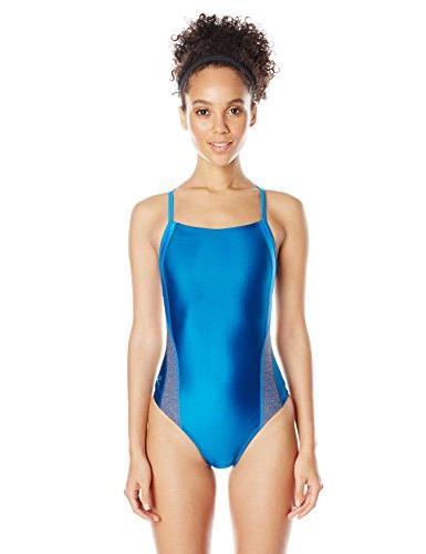 Speedo Women's Relaunch Flyback One Piece Swimsuit, Blue/