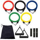 New 11 Piece Resistance Band Set Yoga Pilates Abs Exercise