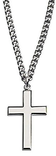 Rhodium Plated Mens Silver Cross Fashion Necklace w 24 Chain