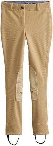 TuffRider Girl's Ribb Lowrise Pull-On Jods, Light Tan, 8