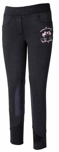Equine Couture Girl's Riding Club Pull-On Breech, Black, 14
