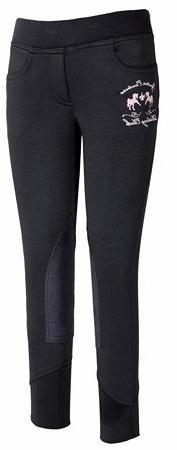 Equine Couture Girl's Riding Club Pull-On Breech, Black, 16