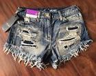 Mossimo High Rise Short Shorts Distressed Denim Jeans Women'