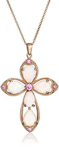 14K Rose Gold over Sterling Silver Created Opal with Created