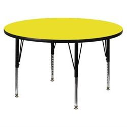 Flash Furniture Mobile 60-Inch Round Activity Table with Yellow Thermal Fused Laminate Top and Standard Height Adjustable Legs