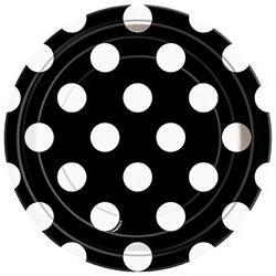 Round Plates 7 8/Pkg-Hot Pink Decorative Dots