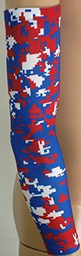 New! Royal Blue Red White Digital Camo Arm Sleeve - Moisture