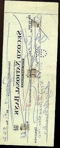Rube Bressler 1919 Reds Signed X2 JSA Certed Check Autograph