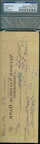 Rube Bressler Autograph D.66 Check Signed PSA/DNA