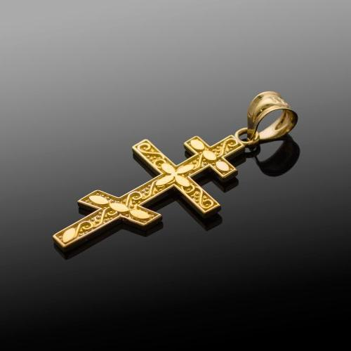 14k Gold Russian Orthodox Cross Pendant