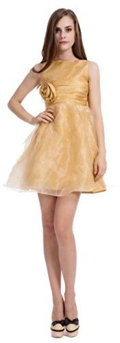 CCHAPPINESS Women's Scoop Knee Length Party Dress Gold US 6