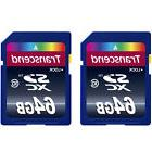 2 x Transcend 64GB UHS-1 SDXC SDHC Memory Card for Canon SL2